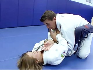 Ultra-Kinky Karate academy girls smashes with her trainer after a superb karate session