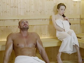 Russian jail-bait with braided hair and extensive mammories got drilled in the sauna, until she came