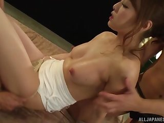 Hardcore threesome nearly Japanese in skivvies Yoshizawa Akiho