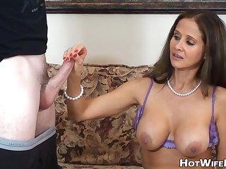 Breasty MILF Touches Huge Dick