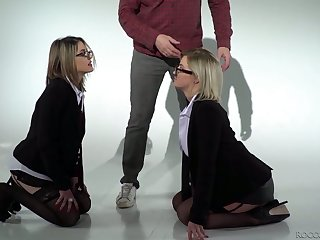 Four eyed blonde Sienna Day plus her nasty GF are fucked everlasting by two horny dudes