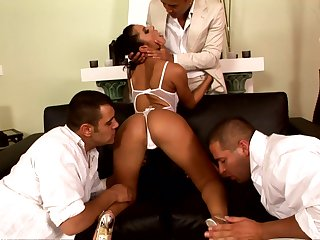 Zuleidy Lapiedra feeds her shaved pussy with vulnerable one cock