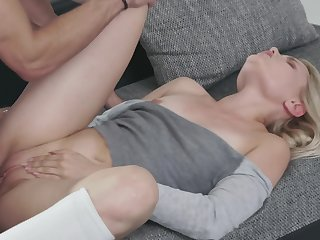 Sweet blonde Scarlett Knight and her handsome male cut capers