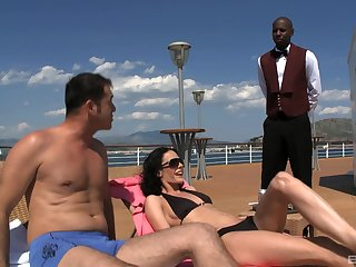 Waiter joins Aliz coupled with her boyfriend in a threesome primarily a boat