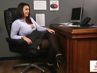 Office sweetie-pie teaches slave fucking partner to masturbate