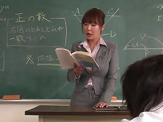 Academician helps a well-draped schoolgirl to rock bottom the lesson