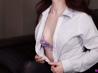 Too pale UK nympho Lola Rae is ready to work on her wet meaty pussy