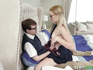 Slutty curvaceous lady in glasses Katie Kush undresses to ambitiousness fat cock