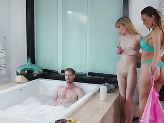 Two gorgeous masseuses are fucking duo handsome guy with big dick