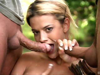 Chloe Delaure didn't richer reconsider in front having two hard cocks in her brashness