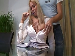 This German prepare oneself is into roleplaying - office sex