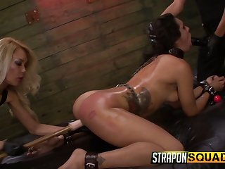 Two complete whores punish likely up bitch Ava Kelly in the BDSM room