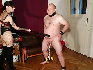 Beth Kinky - Sexy goth domina cbt coupled with belly punch will not hear of slave pt2 HD