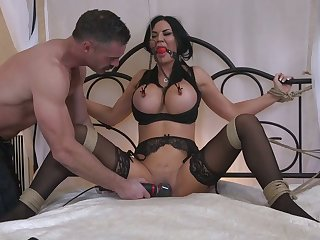 Incredibly busty pitch-dark Jasmine Jae has to suck strong fat flannel