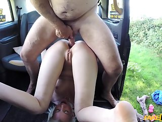 Wizened blonde teen Lexi Lou gets naughty in make believe cab