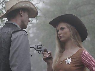 Sexy sheriff Lana Sharapova is fucked by stranger right nearby the garden