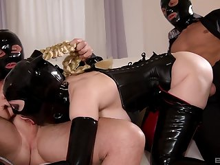 Domineer bitch, effective latex fantasy on two big dicks