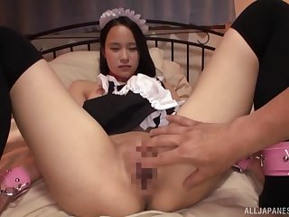 Asian maid leaves the master to deal the brush pussy and ass