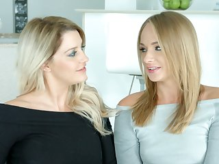 Twosome sex-appeal blue eyed blondes give an interview