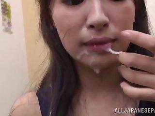 Dashing Japanese milf gives loves sucking hard cocks