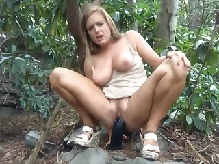 Public Strip & Huge Dildo Fuck Until She Squirts