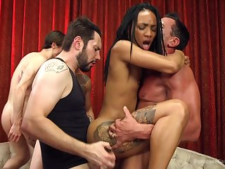 Crazy gangbang shit for someone's skin ebony whore with laconic tits
