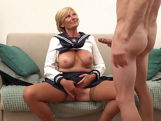 Platinum-Blonde grannie is always willing to open up her gams broad open and realize banged, until she shoots stacks