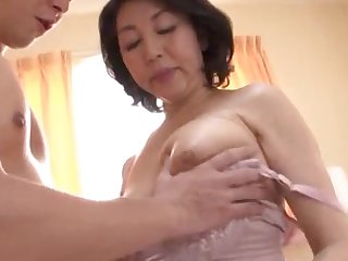 Japanese wife spreads her legs alongside be fucked by her younger lover