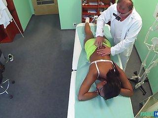Ebony girl filmed in secret undeviatingly riding her doctor's dick