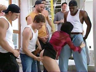 Petite brunette round hardcore gang-bang orgy sex