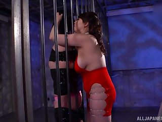 Screwing between a male slave together with dominant Japanese Kazama Yumi