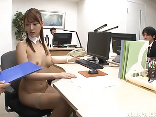 Cum loving slut Wanana Nao enjoys sucking parathetic cocks in the office