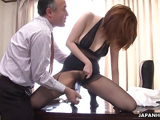 Cute and blue Japanese lady in nylon pantyhose Yuna Hirose gives head