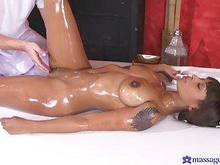 Hot ass ebony babe Lola Marie massaged and fucked by a white guy
