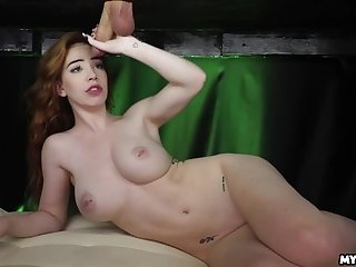 Nala Cums from Wand during Milking Table Wank
